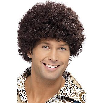 70s disco facet wig, brązowy