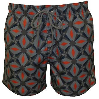Ted Baker Oversized Geo Print Swim Shorts, Navy/Orange