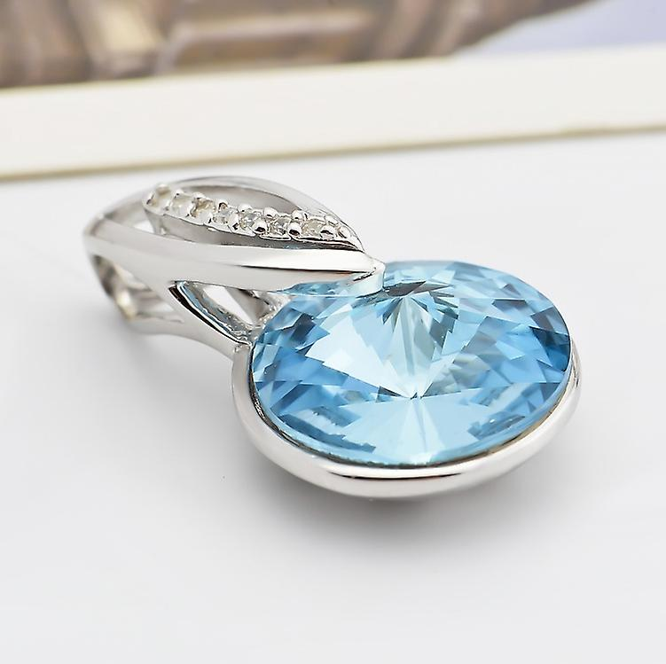 Affici Sterling Silver Pendant with Chain  Pure Rhodium Plated ~ Blue Austrian Crystal