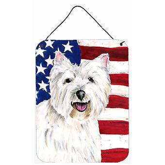 Yhdysvallat Yhdysvaltain lipun Westie alumiini metalli seinän tai ovi roikkuu tulosteita