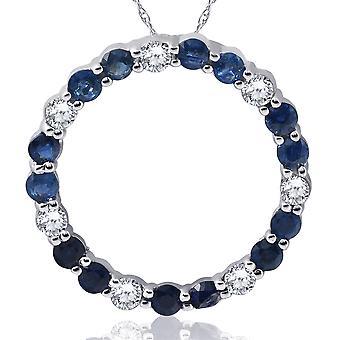 14K valkokulta 2ct timantti & Sapphire ympyrä riipus