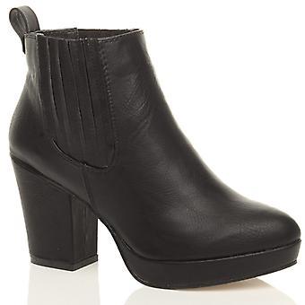 Ajvani womens high heel block platform ankle low chelsea shoes boots booties