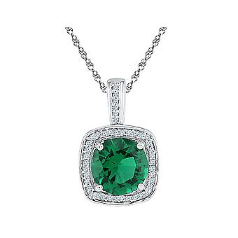 Lab Created Green Emerald 4.00 Carat Solitaire Pendant Necklace in Sterling Silver with Damonds 1/8 Carat (ctw)