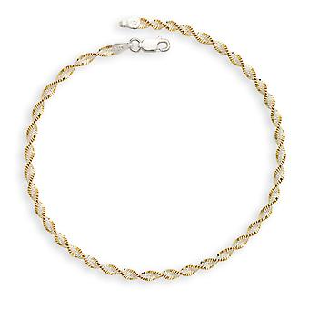 925 Sterling Silver Multi Color Plated 10 Inch Two Tone Anklet Jewelry Gifts for Women - 3.8 Grams