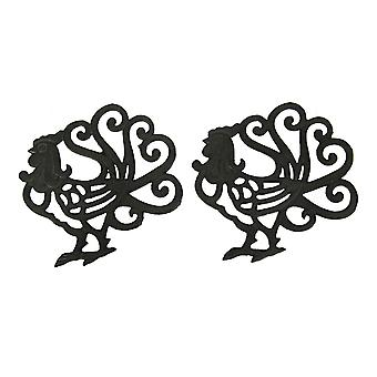 Black Scroll Tail Rooster Cast Iron Trivet Set of 2