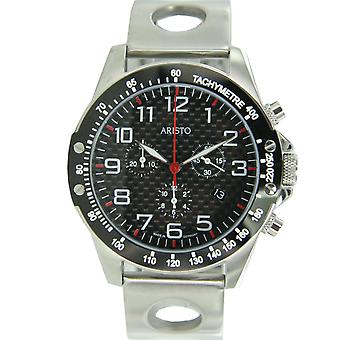 Aristo mens watch Chronograph Carbon stainless steel rally clip 7 H 93