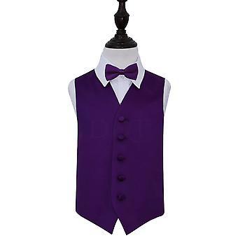 Purple Plain satijn bruiloft gilet & strikje Set voor jongens