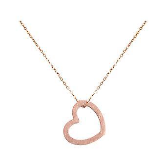 Gemme de coeur pour femme Pendant 925 Rose d'argent dorée 2,5 cm