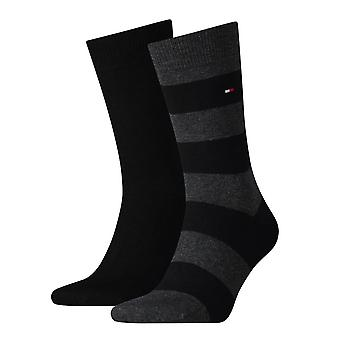 Tommy Hilfiger Rugby rayas calcetines 2-Pack negro