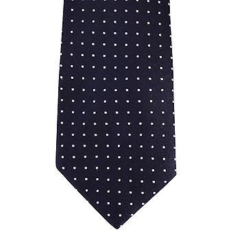 David Van Hagen Spotted Tie - Marine / Blanc