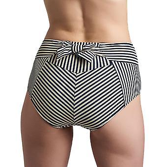 Marlies Dekkers 18199 Women's Holi Vintage Blue Ecru Striped Swimwear Beachwear Bikini Bottom