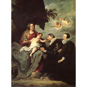 The Virgin and Child with Donors, Anthony Van Dyck, 50x40cm