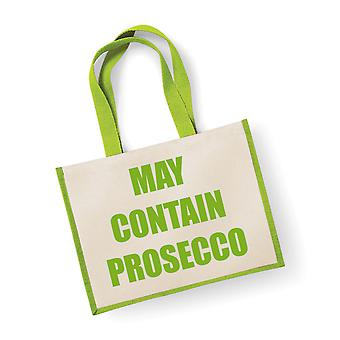 Large Green Jute Bag May Contain Prosecco