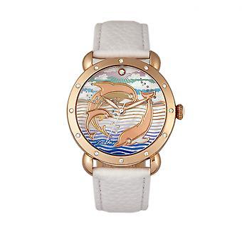 Bertha Estella MOP kožené-Band Dámske hodinky-ružové zlato/biela
