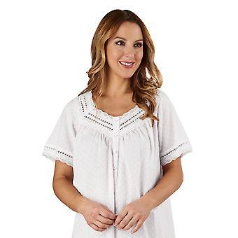 Slenderella ND3232 naisten puuvilla kudottu White Night puku oloasut yöpaita