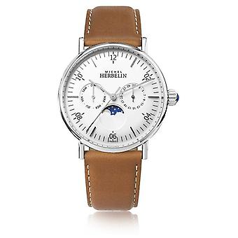 Michel Herbelin Montre Inspiration Moonphase Brown Leather Strap White Dial 12747/AP11GO Watch