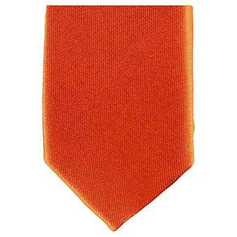 Knightsbridge Neckwear Skinny Polyester Tie - Bright Orange