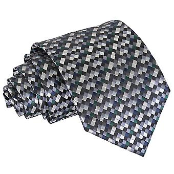 Silver med svart, grönt och marinblå rutig geometriska klassiska slips