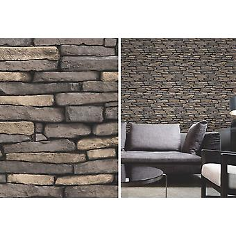 Beau Decor gris naturel patiné ardoise brique pierre mur papier peint fonctionnalité