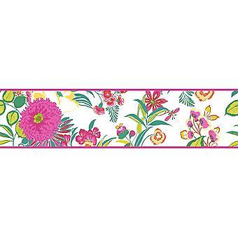 K2 Floral bloemen behang grens fel moderne wit roze groen geel
