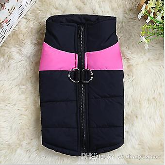Dog Puppy Black / Pink Coat Winter Jacket Zip Pet Cute Pet Clothes Dog Clothes