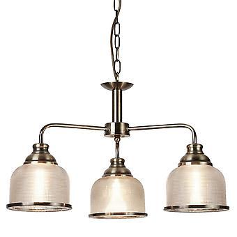 Sökarljus Bistro II antik mässing 3 ljus hänge med Holophane glas nyanser