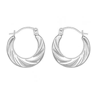 Eternity 9ct White Gold Small Ridged Creole Hoop Earrings