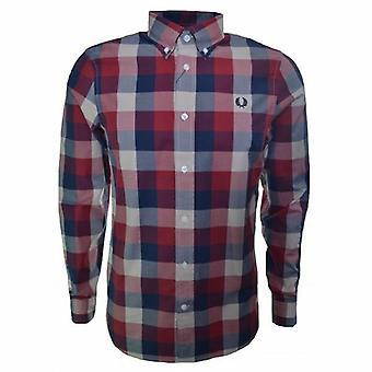 Inverno Twill Gingham manga longa camisa M7294-850 Fred Perry masculino