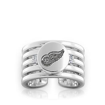 Detroit Redwings Engraved Sterling Silver Diamond Multiband Cuff Ring