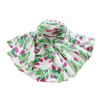 Eternal Collection Scottish Thistle Twilled Polyester White Magenta And Green Oblong Scarf