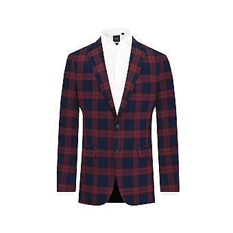 Dobell Mens Burgundy Tartan 2 Piece Suit Slim Fit Notch Lapel
