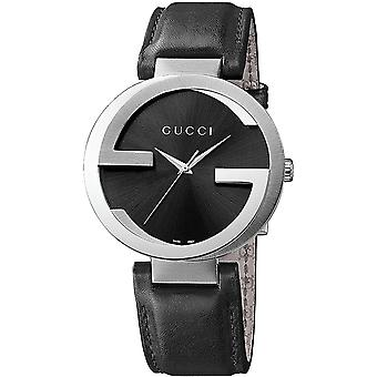 Gucci Ya133501 Interlocking G Black Dial Leather Strap Ladies Watch