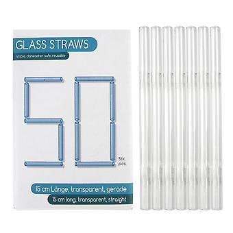 Pailles à boire en verre, ensemble de 50 sm 15 cm 50 pailles à boire, 100% verre, transparent, 15 cm, carton.