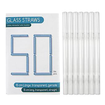 Trinkhalme aus Glas, 50er-Set 15 cm 50 Trinkhalme, 100 % Glas, transparent, 15 cm, kartoniert.