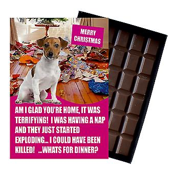 Jack Russell Funny Christmas Gift for Dog Lover Boxed Chocolate Greeting Card Xmas Present