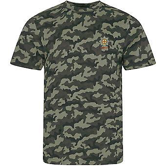 Coldstream Guards Veteran-lisensoitu Britannian armeijan kirjailtu naamiointi printti T-paita