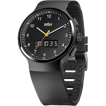 Braun multifuntion gent Japanese Quartz Analog/Digital Man Watch with BN0159BKBKG Rubber Bracelet