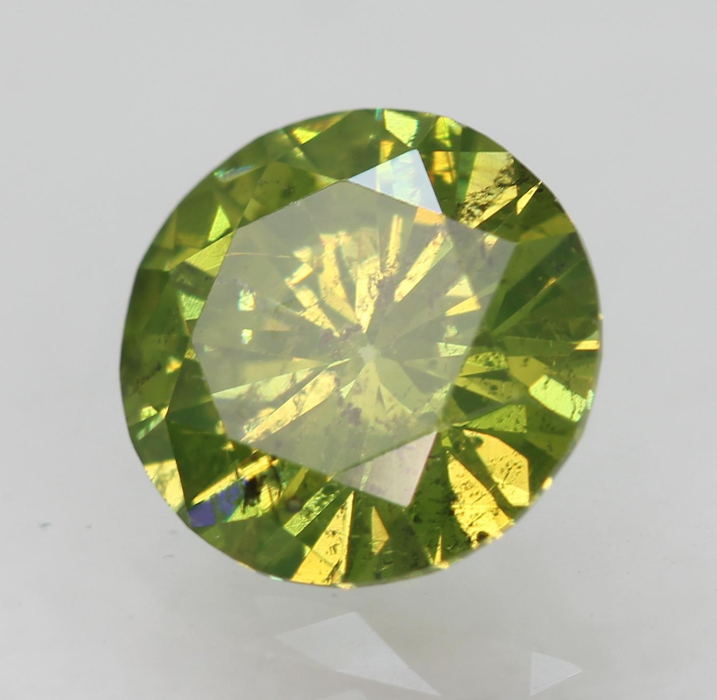 Cert 0.98 Carat Green Yellow SI1 Round Brilliant Enhanced Natural Diamond 6.57mm