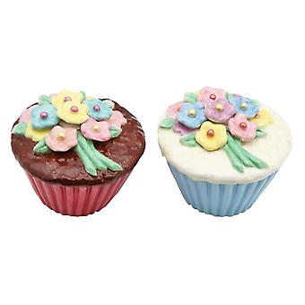 Flower Cupcake Ceramic Salt Pepper Shaker Set