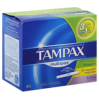 Tampax cardboard applicator tampons, super, regular, lites , 40 ea