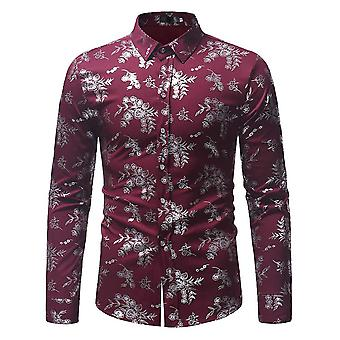 Allthemen Men's Floral Printed Slim Fit Casual Long Sleeves Shirt