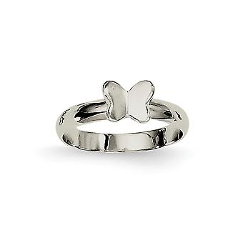 925 Sterling Silver Polished Butterfly Angel Wings Ring - Ring Size: 3 to 4