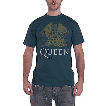 Queen T Shirt Classic Crest Band new Official Mens Indigo Blue