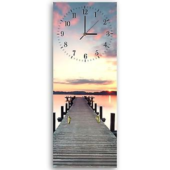 Decorative clock with hanger, Bridge, sunset
