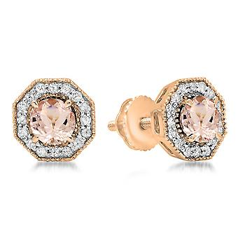 Dazzlingrock Collection 10K de corte redondo Morganite & White Diamond Ladies Halo Style Stud Pendientes, Oro Rosa