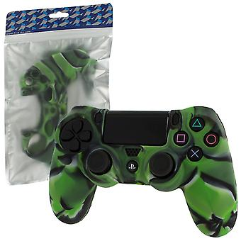Soft silicone rubber skin grip cover for sony ps4 controller with ribbed handle - camo green