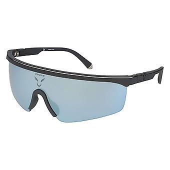 الشرطة لويس 07 SPLA28 9U5X رمادي مطاطي الورنيش / دخان مرآة النظارات الشمسية الفضية