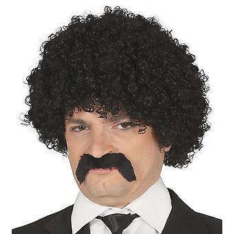 Mens svart krøllete Wig & Bart Fancy kjole tilbehør
