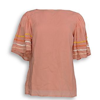 Du Jour Women's Top XXS Flutter Sleeve Crinkle Gauze Pink A308033