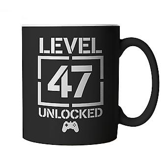 Level 47 Unlocked Video Game Birthday, Mug | Age Related Year Birthday Novelty Gift Present | 60s 70s 80s 90s Dad Grandad Son Mum Daughter | Gaming Cup Gift